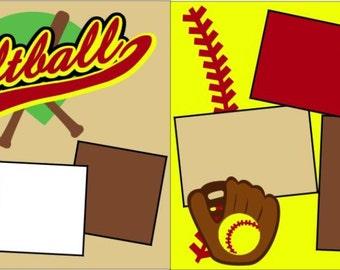 """Scrapbook 2 Page Kit """"Softball Yellow"""""""