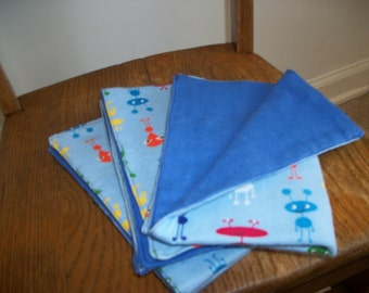 Cotton Flannel Baby Burp Cloths Set of Three