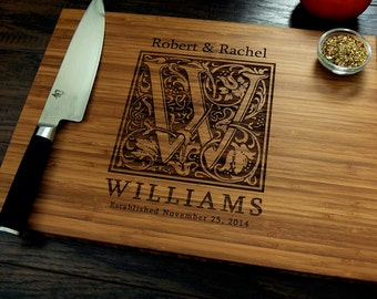 Personalized Wedding Gift, Custom Cutting Board, Anniversary Gift, Vintage Monogram, Housewarming Gift, Bridal Shower Gift, Hostess Gift