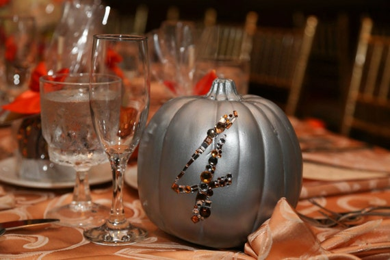 Custom 1-8 Bedazzled Foam Pumpkin Wedding Table Numbers