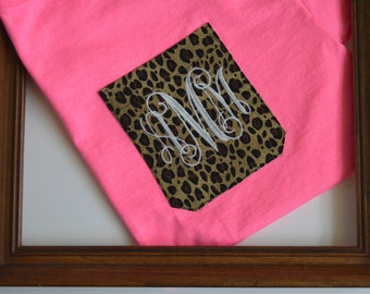 Monogram Pocket Tee,monogram shirt, monogrammed pocket shirts for women, leopard pocket,safety pink shirt