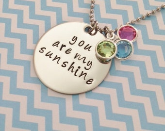 You are my sunshine Disc Necklace with Swarovski Crystal Birthstones