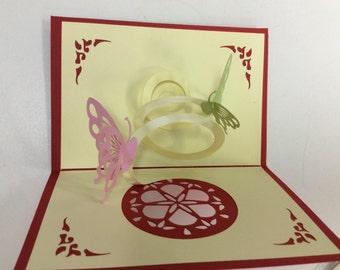 3D butterfly pop up card, blank