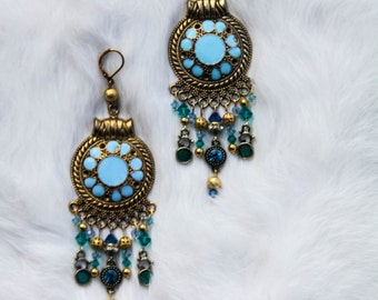Gold and Turquoise Chandelier Earrings