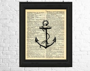 Dictionary Page Art Instant Download - Anchor Digital Image, Anchor Print, Printable Poster, Dictionary page Art, Anchor Poster