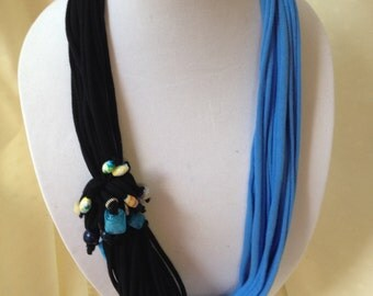 Blue and Black Multi Strand Scarf Necklace