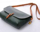"""11""""Ladies Green Vintage Genuine Leather Crossbody Sling Handbags Women Shoulder Satchels,Ladies Envelop Bags,Clutches,Ipaid Mini Cases"""