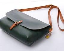 """10""""Ladies Green Vintage Genuine Leather Crossbody Sling Handbags Women Shoulder Satchels,Ladies Envelop Bags,Clutches,Ipaid Mini Cases"""
