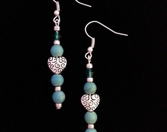Tibetan Silver Heart and Turquoise Dangle Earrings