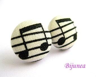 Music earrings - Music stud earrings - White music note studs - Music posts - Music note post earrings sf232
