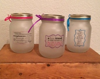 Friendship frosted mason jars!