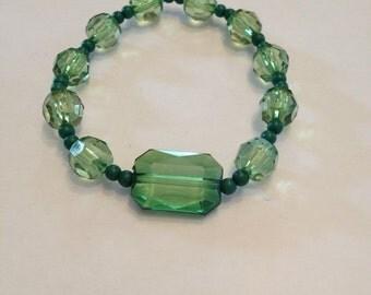 Green Beaded stretch bracelet.