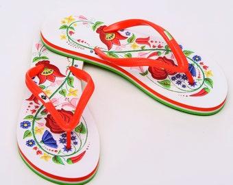 Hungarian Kalocsa Embroidery Flip Flop