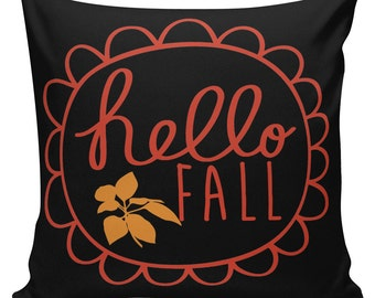 Pillow Cushion Halloween Orange Black Hello Fall Cotton #RQ0088 RavenQuoth All Hallow's Eve Home Decor
