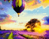 3D Hot Air Balloon Lavender Field Shiny Beads Wall Art Landscape Wall Decor Scenery Wall Hanging Balloon Home Decor Lavender Tree Decor Gift