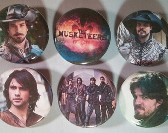 The Musketeers Series Badge Button Pin Set of 6