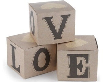 Rustic Love Square Favor Boxes for Country Wedding