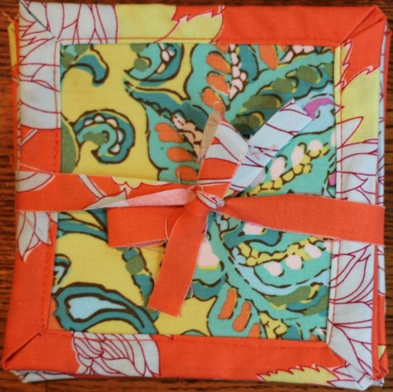 Fabric Coasters Set of 6, Bright, Colorful, Orange, blues and greens