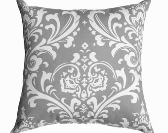 Grey Pillow Cover - Damask Decorative Throw Pillow Cover - Grey and White Pillow Cover - Cushion Cover - Accent Pillow Cover