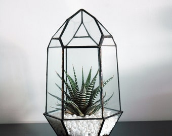 Small Geometric Glass Terrarium / Crystal Terrarium / Quartz / Mordern Glass Planter / Stained Glass Terrarium