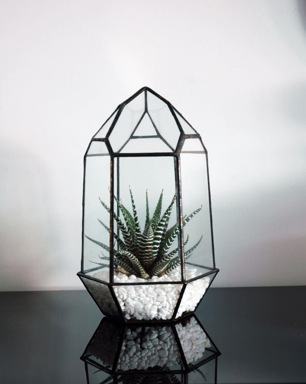 small geometric glass terrarium crystal terrarium quartz. Black Bedroom Furniture Sets. Home Design Ideas
