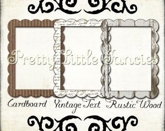 digital picture frames 3 5x7 rustic wood cardboard vintage text