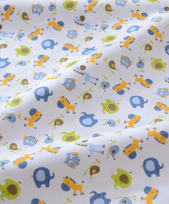 Items similar to cute baby knit fabric blue elephant horse for Kids horse fabric