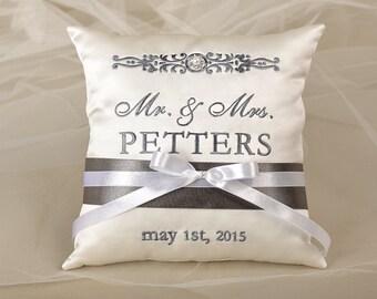 Wedding  Bearer Pillow, Ring Pillow Wedding, Ring Cushion EMBROIDERY grey,