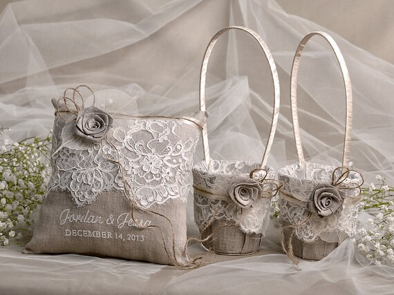 Flower Girl Basket & Ring Bearer Pillow Set, Shabby Chic Natural Linen Burlap , Embriodery Names