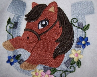 Personalised embroidered pretty Pony bath towel (100% cotton)
