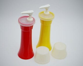 Tupperware Ketchup and Mustard pumps [yellow/red] : VINTAGE