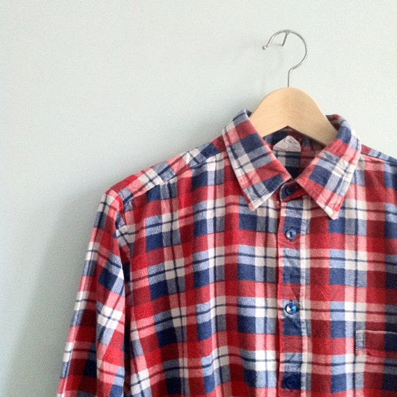 Vintage Red White Blue Flannel Shirt Xl Oversized By