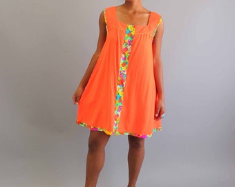 neon orange tent dress and floral cover-up . vintage day dress and house coat