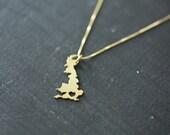 UK Necklace - United Kingdom Necklace - Brass United Kingdom Charm British Heart Necklace I Heart UK Hometown