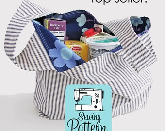 Grocery Bag PDF Sewing Pattern | Market Tote Shopping Bag Pattern PDF in 3 Sizes