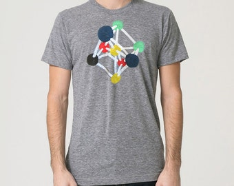 Atomium Tee - Mens Hand Stenciled Crew Neck Graphic T-Shirt in Heather Grey and Red Yellow Blue Green - XS S M L XL 2XL