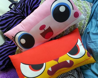1 UniKitty & Angry Kitty Double-sided cotton pillow inspired by The LEGO Movie! 11x20 inch super soft travel, or children's sized cushion
