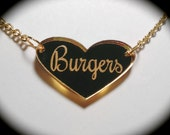 Burgers Heart Gold Mirror Acrylic Necklace