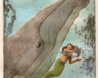 Beach Art Mermaid Whale Print Original Drypoint Etching Nautical DelPesco