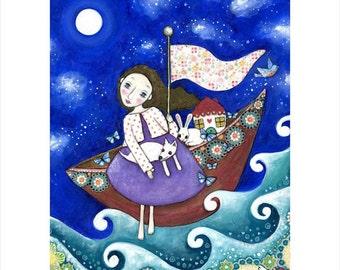 Girl and dog A3 art print house boat rabbit whimsical folk art naive art for kids wall art decor flying boat gift for friend - 'Sail Away'