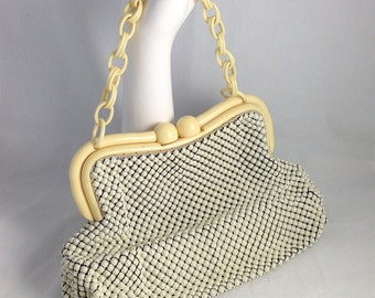 1940s Whiting and Davis Alumesh purse with Celluloid Chain Handle