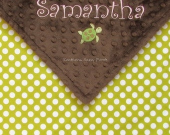 Personalized Baby Blanket - Baby Girl or Baby Boy Minky Blanket ,  Embroidered Name and Optional Sea Turtle - Gender Neutral , Ta Dot