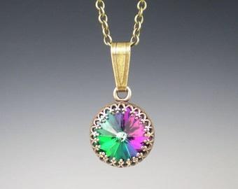 Rivoli Rhinestone Necklace Electra Swarovski Green Fuchsia Violet Blue Oxidized Brass Necklace Jewelry