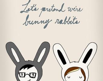 Let's Pretend We're Bunny Rabbits, archival print of original illustration by Anna Tillett Designs