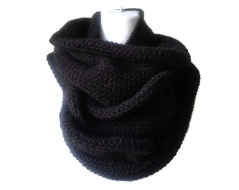 Solid Black Alpaca Infinity Scarf Circle Cowl Men Women Unisex SAMANTHA Ready to Ship - Natural FIber
