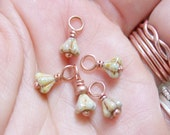 TINY - Stitch Markers with Czech Glass and Copper - US3 - Set of 5 - Perfect for Sock Knitters