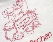 Strawberry Jam Dish Towel - Genuine Cotton Flour Sack DishTowel, Red Work Dish Towel