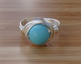 Magnesite Ring. Light Blue Ring. Round Stone Ring. Something Blue. Tiffany Blue Ring