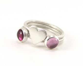 Be Still My Heart lab created ruby and pink sapphire, sterling silver stacking 3 ring set - size 7