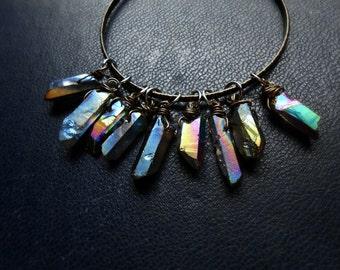 the illusionist bangle braclet - titanium crystal quartz gypsy goth dark bohemian bangle vintage occult jewelry